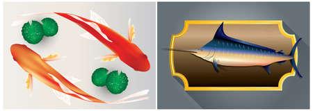 koi fish and swordfish Illustration
