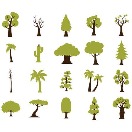 木のイラストのシンプルなセット。  イラスト・ベクター素材