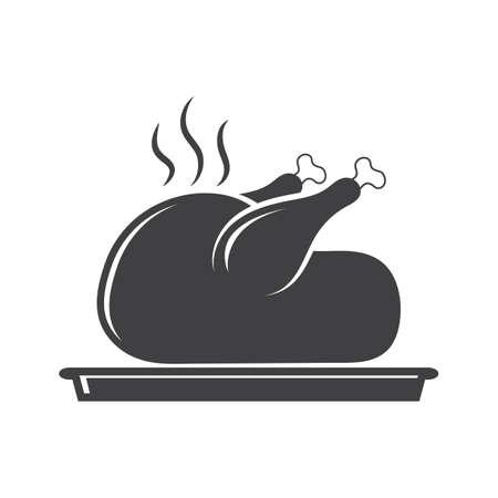 Roasted chicken in plate Çizim