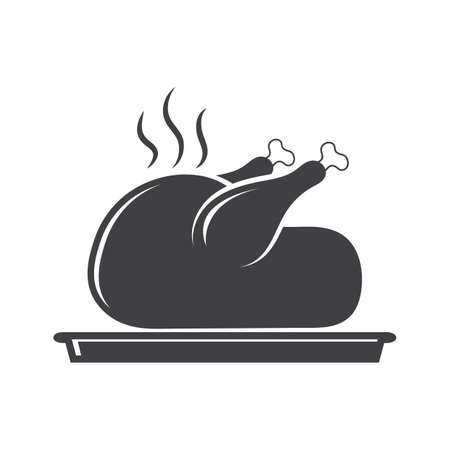 Roasted chicken in plate Illustration