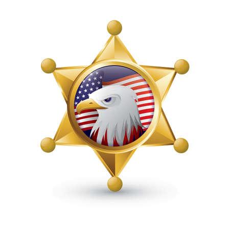 eagle sheriff badge Illustration