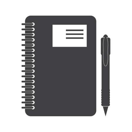 나선형 노트북 및 펜 일러스트