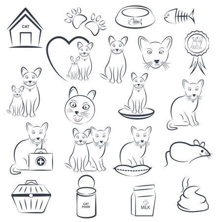 Set van kat pictogrammen