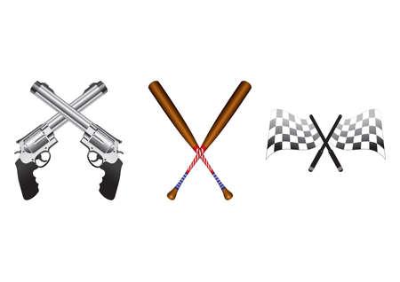 Set of crossed icons Illustration