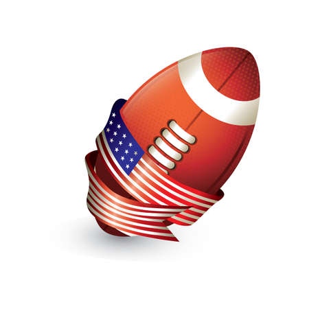 football with american flag ribbon