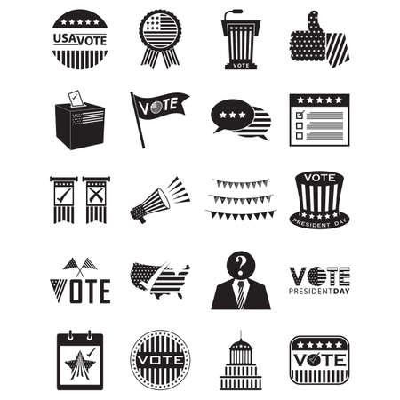 A set of usa election icons illustration.