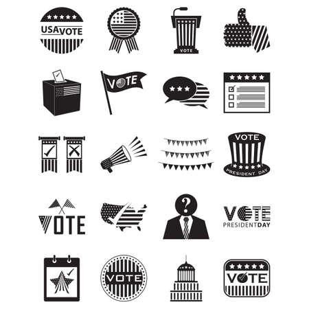 Un conjunto de la ilustración de los iconos de la elección de los EEUU Foto de archivo - 81486132