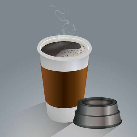 hot coffee in a paper cup Ilustração
