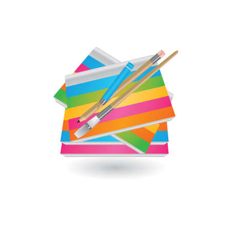 painting book with brush and pencil Illustration