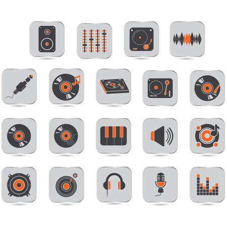 collectie van dj pictogrammen Stock Illustratie
