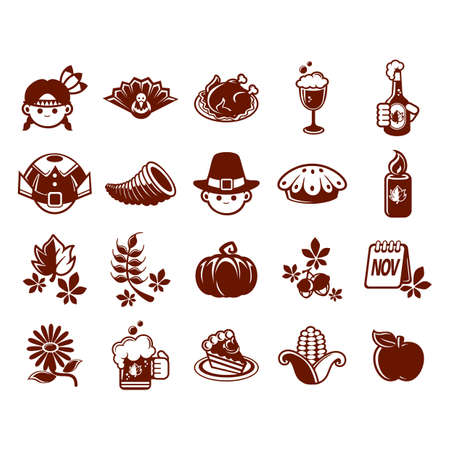 collection of thanksgiving icons Stock Illustratie