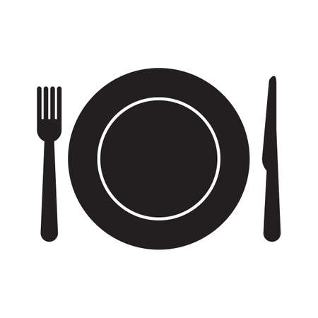 Assiette avec fourchette et couteau Banque d'images - 81538638