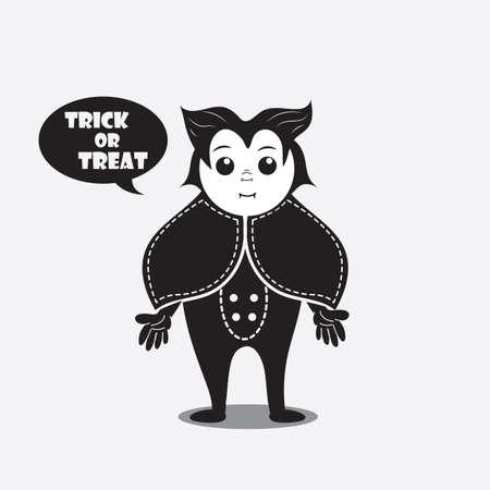 persoon in een kostuum dat trick of treat zegt Stock Illustratie
