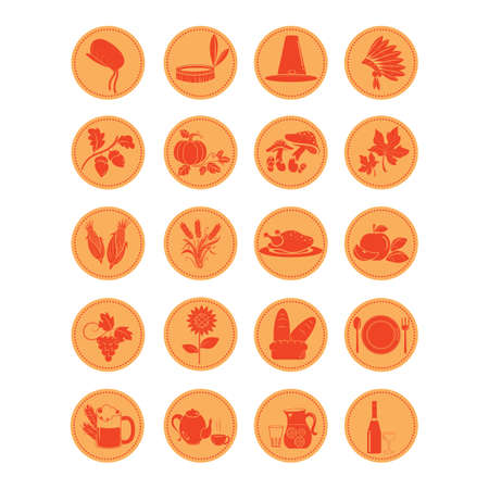 set of thanksgiving icons Illustration