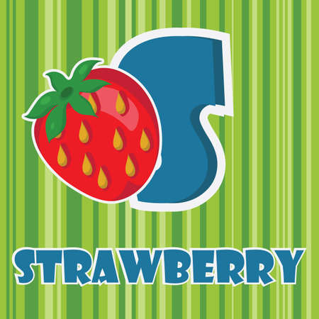 s for strawberry  イラスト・ベクター素材