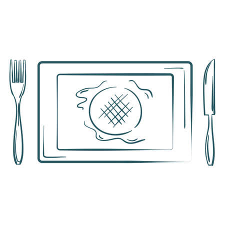A burger platter illustration.