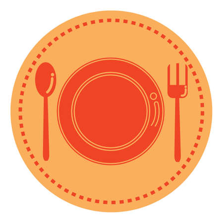 plate spoon and fork Stock Illustratie