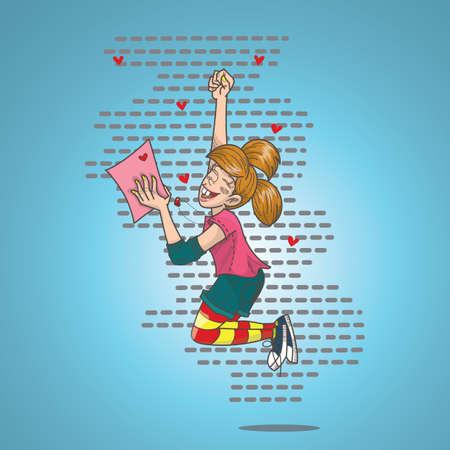 女の子の愛の手紙を受け取るために幸せ 写真素材 - 81419397