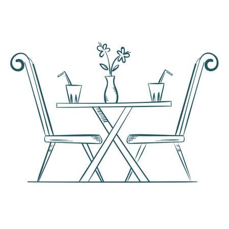 A restaurant dining table illustration. Çizim
