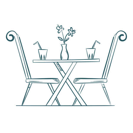 A restaurant dining table illustration. Illustration