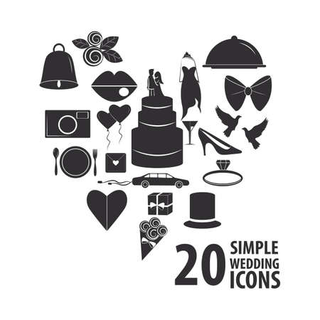 set of wedding icons Illustration