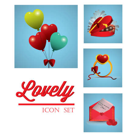 romantic icon set Çizim