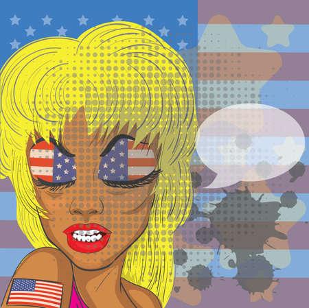 american woman with speech bubble Illusztráció