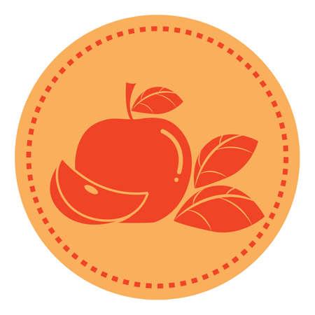 an apple with a sliced piece Çizim