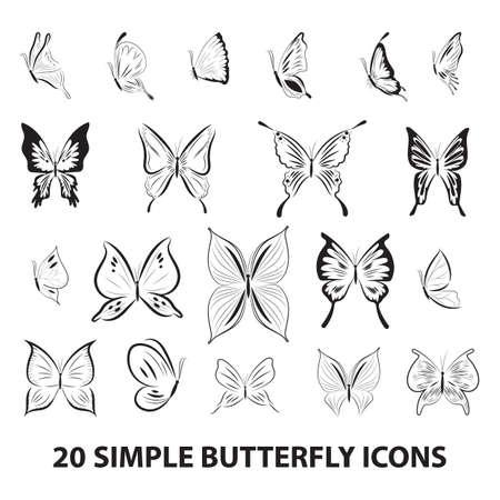 Icona farfalla set Archivio Fotografico - 81487018