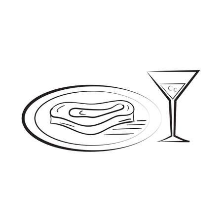 스테이크 일러스트와 함께 와인 유리입니다.