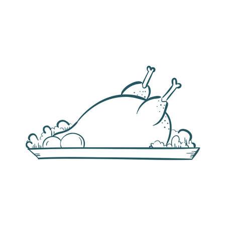 A roasted chicken illustration.