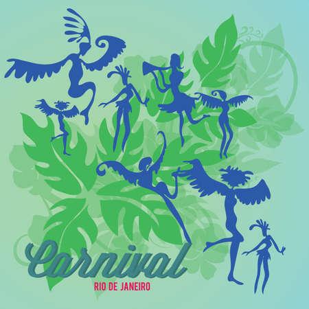 葉背景とカーニバル ダンサーのシルエット