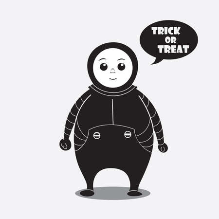 person in a costume saying trick or treat