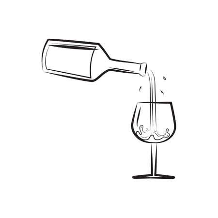 Een wijn die in een glasillustratie giet.