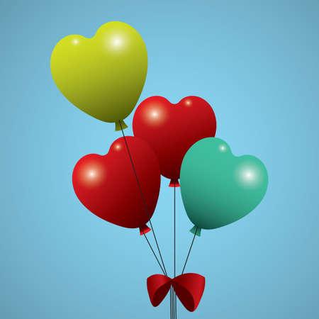 심장 모양의 헬륨 풍선