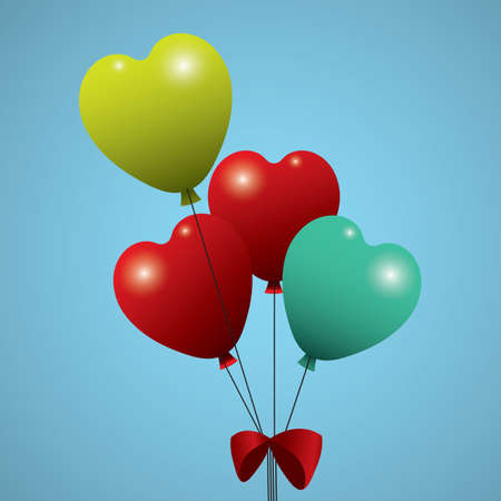 heart shaped helium balloons Illustration
