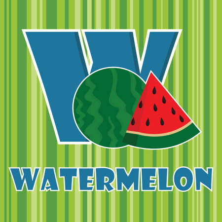 w for watermelon Ilustrace
