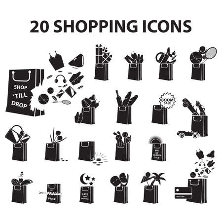 Conjunto de ícones de compras Foto de archivo - 81487037