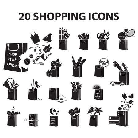 set shopping icons