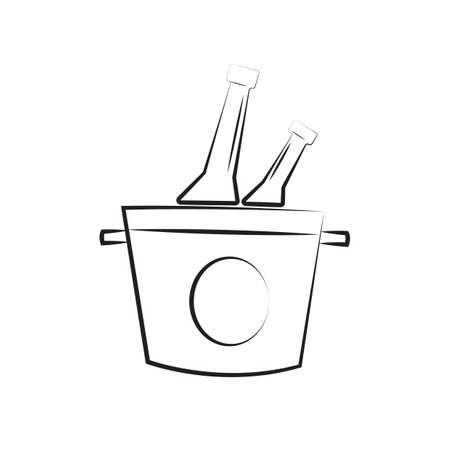 A wine bottles in a bucket illustration.