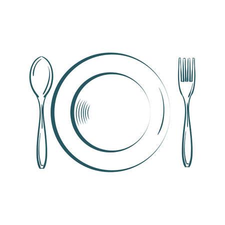 포크와 숟가락 그림 접시입니다.