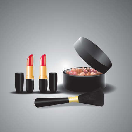 powder balls with brush and lipstick
