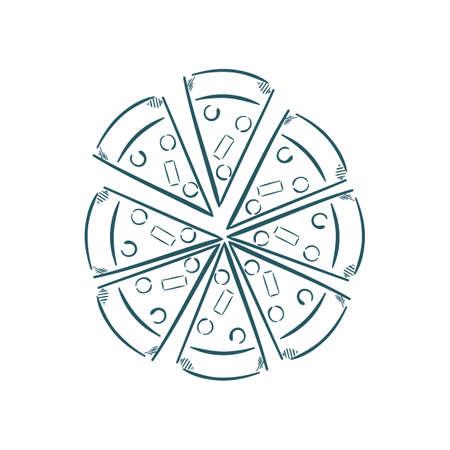 ピザのスライスの図。  イラスト・ベクター素材