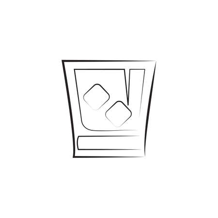 A glass with ice cubes illustration.