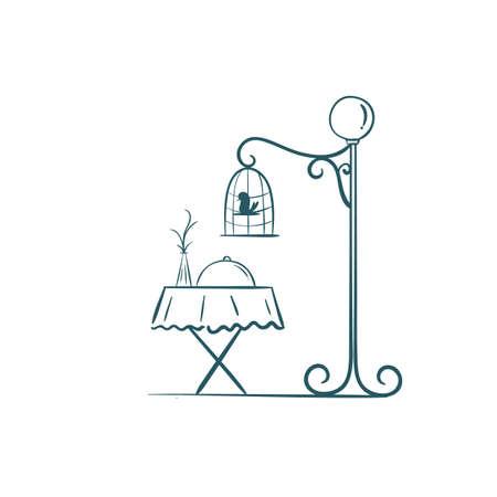Een koffieeettafel met een vogelkooisillustratie. Stock Illustratie