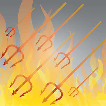 fire with pitchfork Illustration