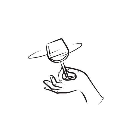 A man twisting a glass of  illustration. Illustration