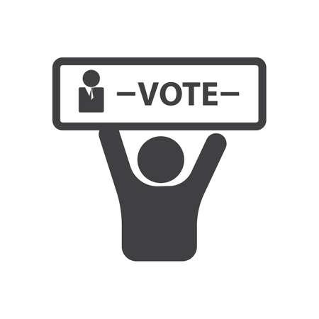 투표 간판이있는 남자 스톡 콘텐츠 - 81487155