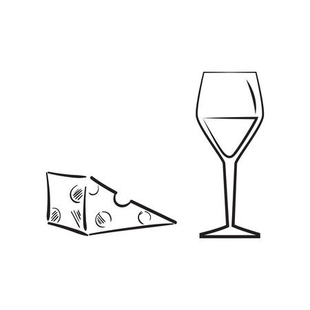 A cheese with a glass of wine illustration.