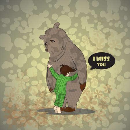 クマを抱いて少年  イラスト・ベクター素材